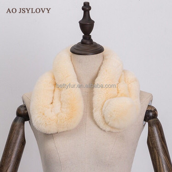 Top selling fashion neck warm rex rabbit fur scarf for lady