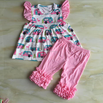 CX-577 Kids boutique summer clothing sets baby capri outfits car and flamingo printed yiwu factory cheap price child clothes