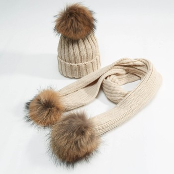 Wholesale Price Knitted Women Big Real Raccoon Fur Pom Pom Hats For Winter 2a1f2898e899