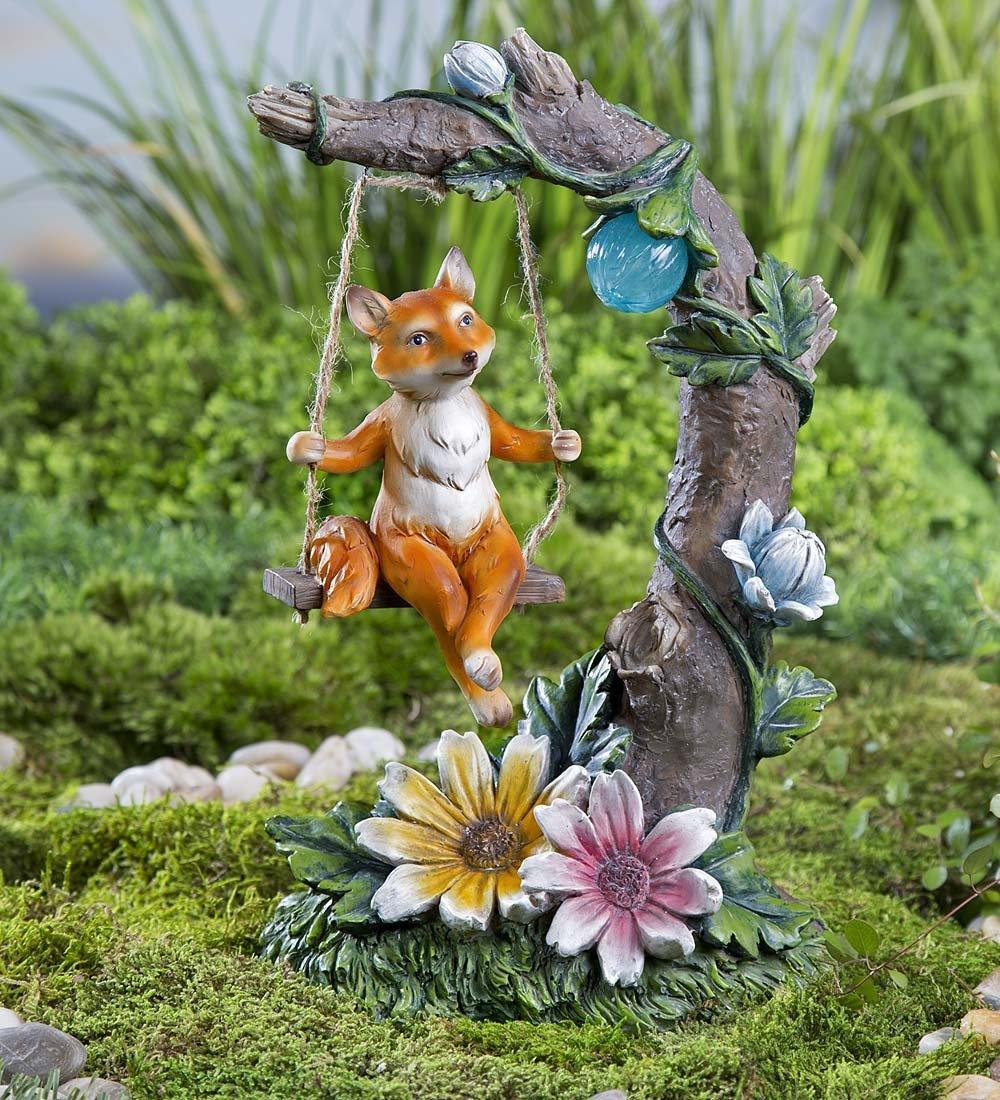 Whimsical Fox on Swing Resin Animal Garden Statue with Solar Garden Light