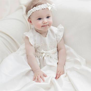aba65b94cbd Vestidos de bautizo mangas apliques y lazo Formal 1 año de cumpleaños  vestido de bautismo de