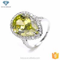 Drop shaped jadau bangkok 925 sterling silver jewellery engagement rings