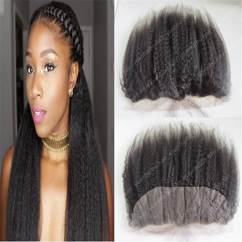 Quality 9A Virgin Mongolian Hair Lace Frontal 13x4 Coarse Yaki Human Hair 130% density Kinky Straight Lace Frontal Closure