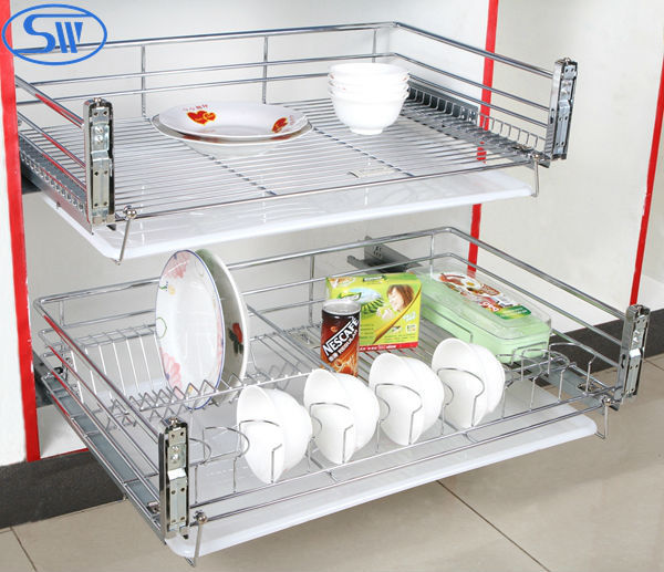 Guangzhou Factory Supply Kitchen Cabinet Design Slide Pull Out Basket Dish Rack