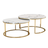 Simple luxury modern living room metal frame stainless steel rose gold marble top round coffee side table