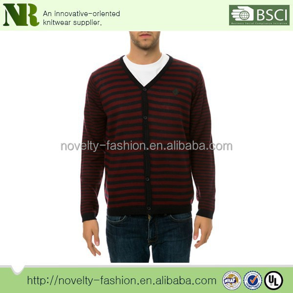 100% acrylic Red Black striped sweater for men