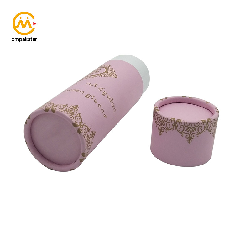 Customized wholesale colorful printing round pink cardboard box cylindrical tube packaging