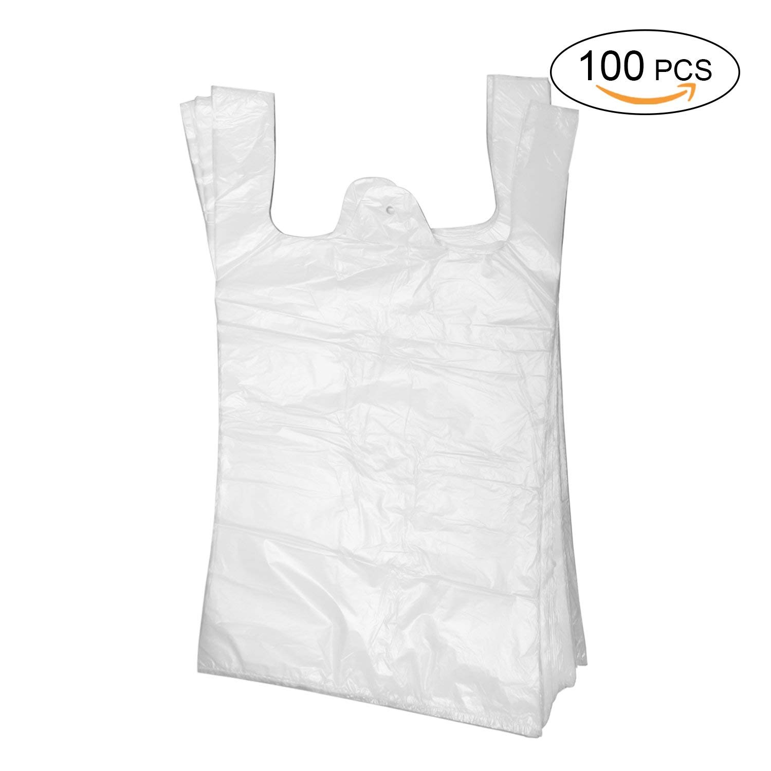 Topgalaxy.Z Plastic T Shirt Bags, Shopping Bags, Merchandise Bags,Plain Grocery Bags, kitchen trash bags, Reusable Grocery Plastic Bags 100 Count (Small trash bags- handle)