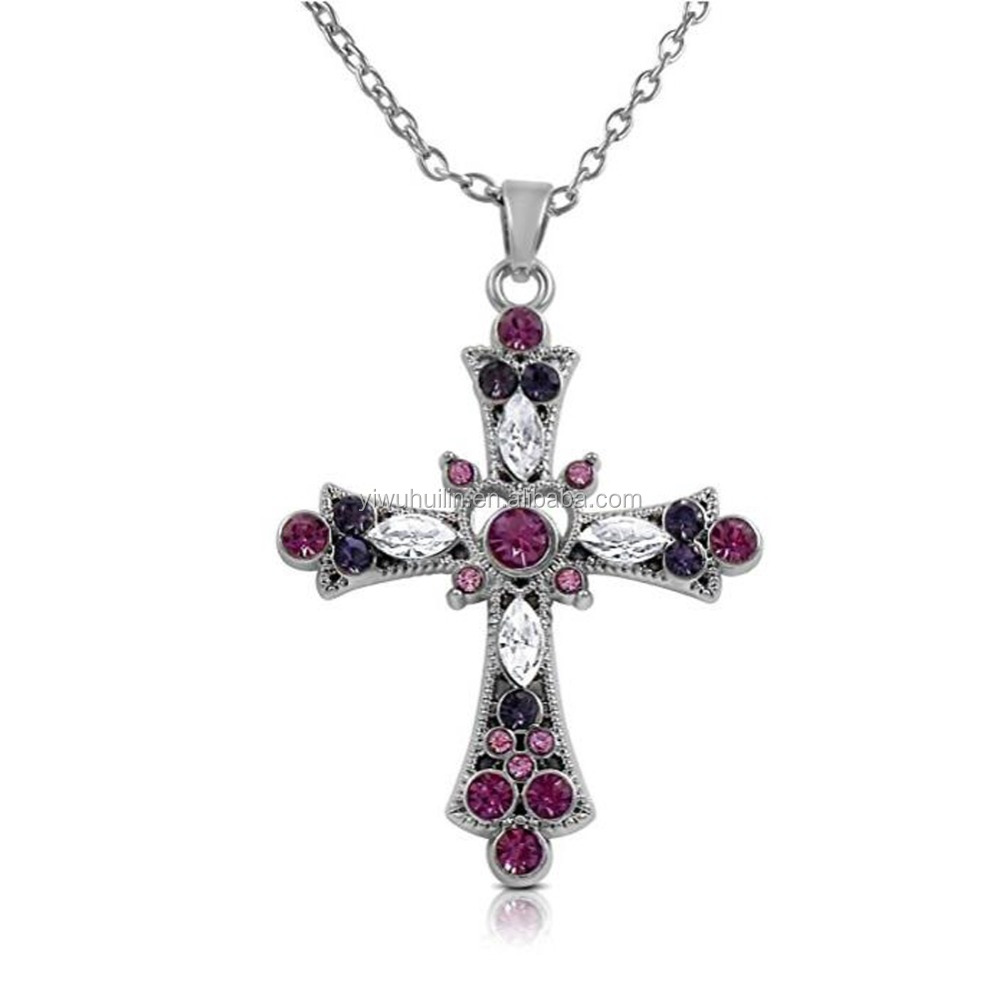 Huilin Jewelry Pretty Purple and Pink Crystal Religious Cross Pendant Necklace for Teens and Women