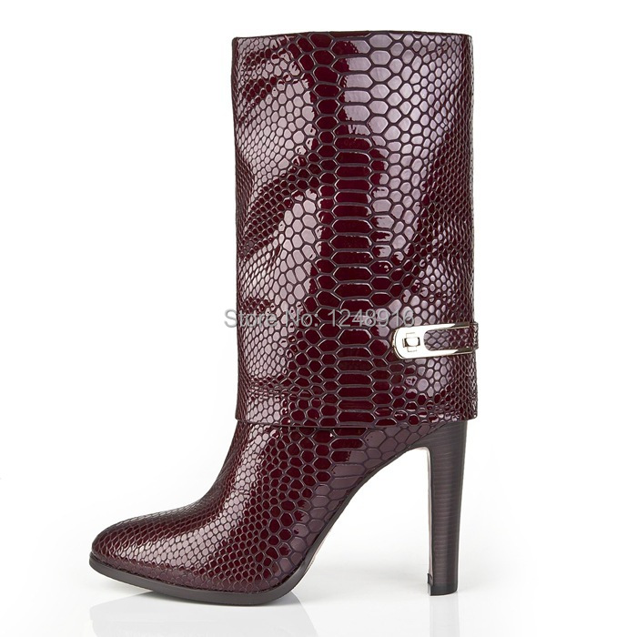 977c4031ffe Get Quotations · Top New 2015 Women Motorcycle Boots Snakeskin Thigh High  Heel Boots Red Zipper Designer Boots For