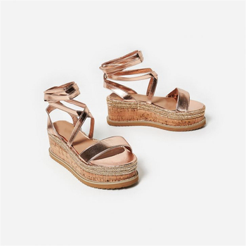 C070 women casual wear style ankle strap pine wood platform wedge sandals