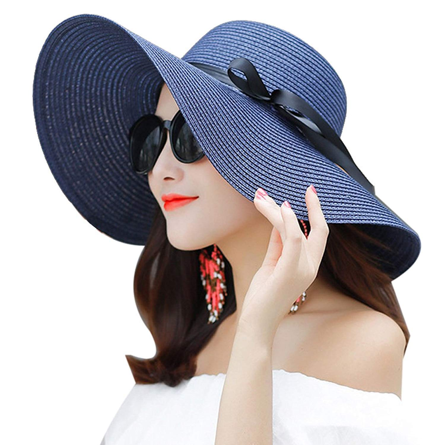 57eda705f4e Get Quotations · Aniwon Womens Beach Hat Foldable UV Protection Floppy  Beach Cap Beach Sun Hat Summer Beach Cap