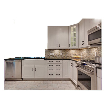 2018 High Quality Solid Wood Pure White Kitchen Cabinet Set With Blum Hinge And Handles In
