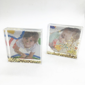 Square Shape Clear Acrylic Floating Aqua Fun Box Liquid gitter Photo Frame