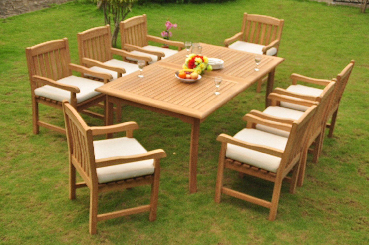 """TeakStation 8 Seater Grade-A Teak Wood 9 Pc Dining Set: 117"""" Double Extensions Rectangle Dining Table and 8 Devon Arm / Captain Chairs #TSDSDVu"""