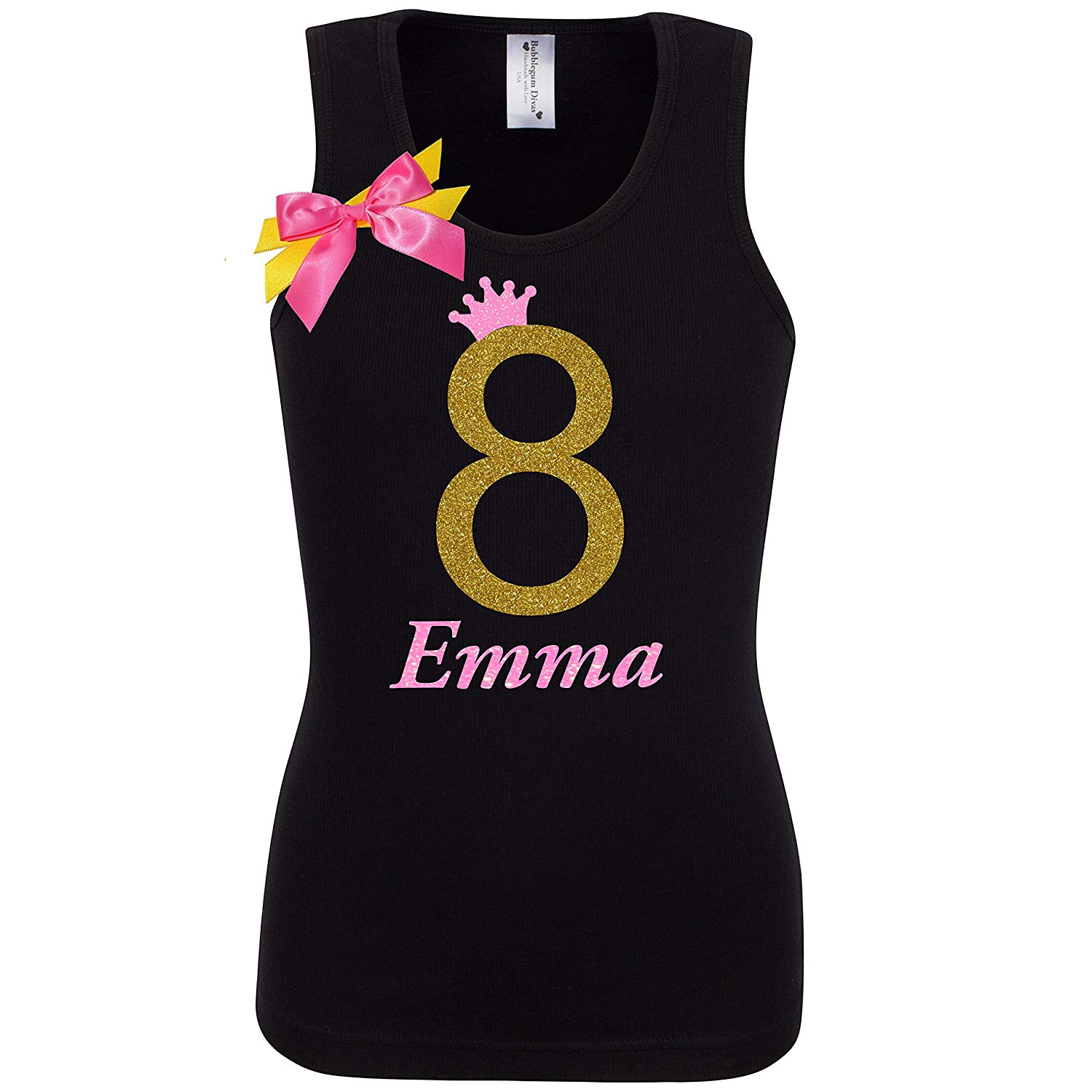 Get Quotations Girls 8th Birthday Shirt Gold Glitter 8 T Tank Top Custom Name Age Party