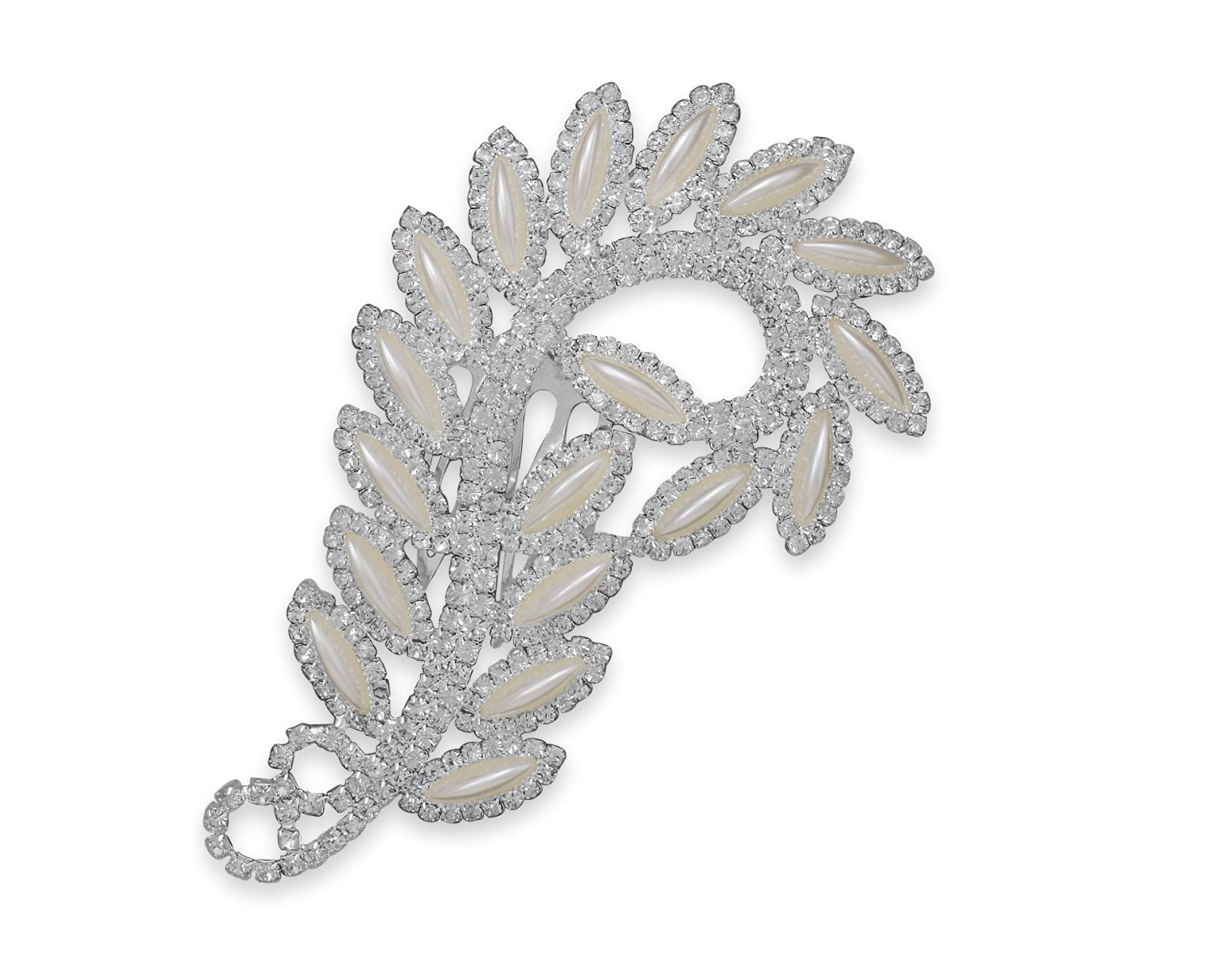4-3/4 inch Silver Tone Fashion Hair Comb ONLY, 3mm Clear Crystals, 3.5x15mm Faux Mother of Pearl