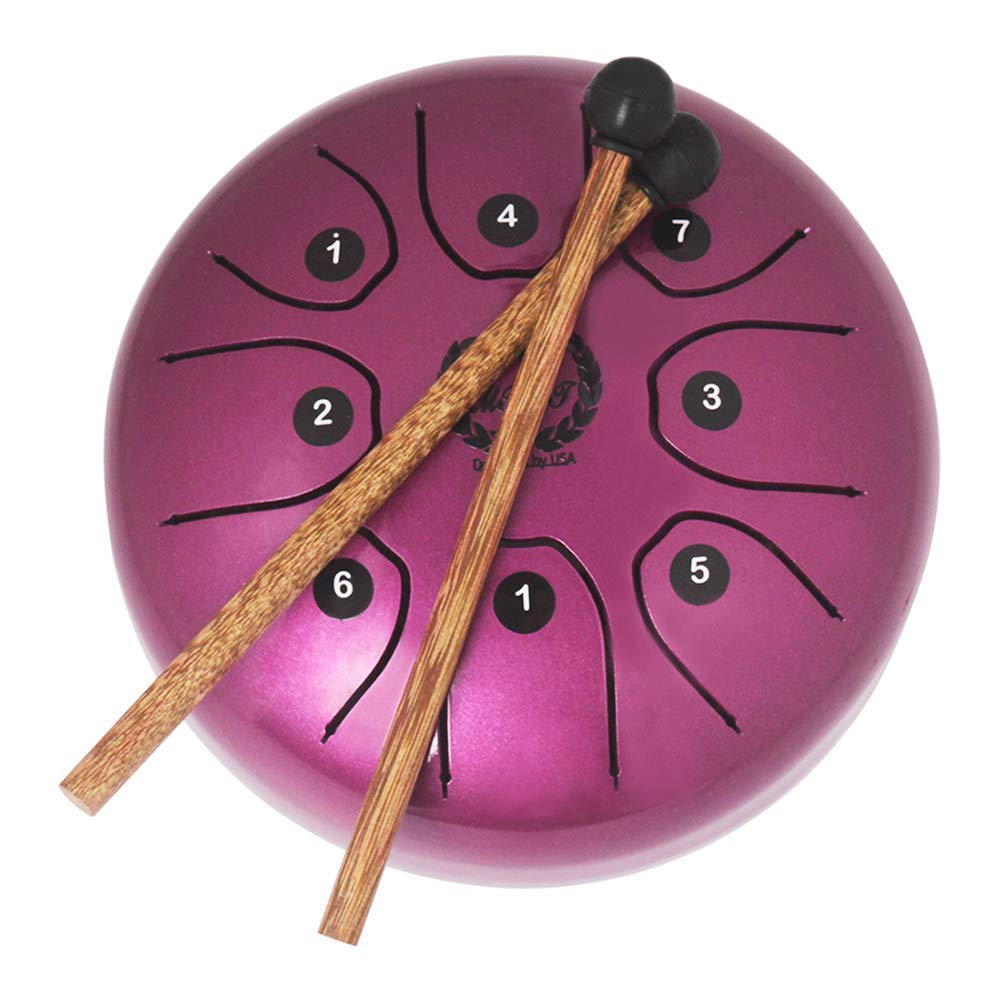 "EDTara Pan Drum,5.5"" Quality Mini Steel Tongue Percussion Drum 8 Note CDEFGABC with Rubber Musical Mallets for Children Instrument"