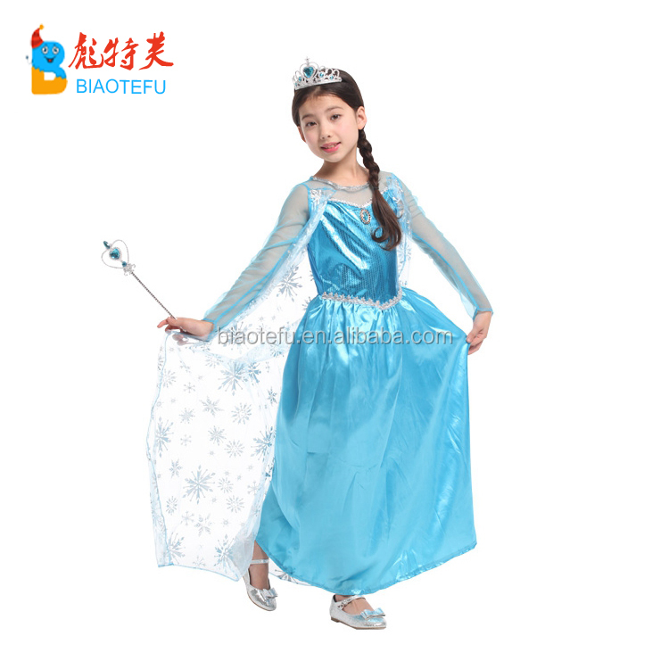TV & Movie light blue girl princess frozen elsa costumes children elsa party cosplay long sleeve fancy dress costumes in stock