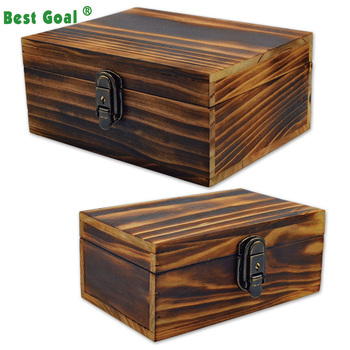 2 Sets Jewelry Box Handcraft Rustic Wooden Storage
