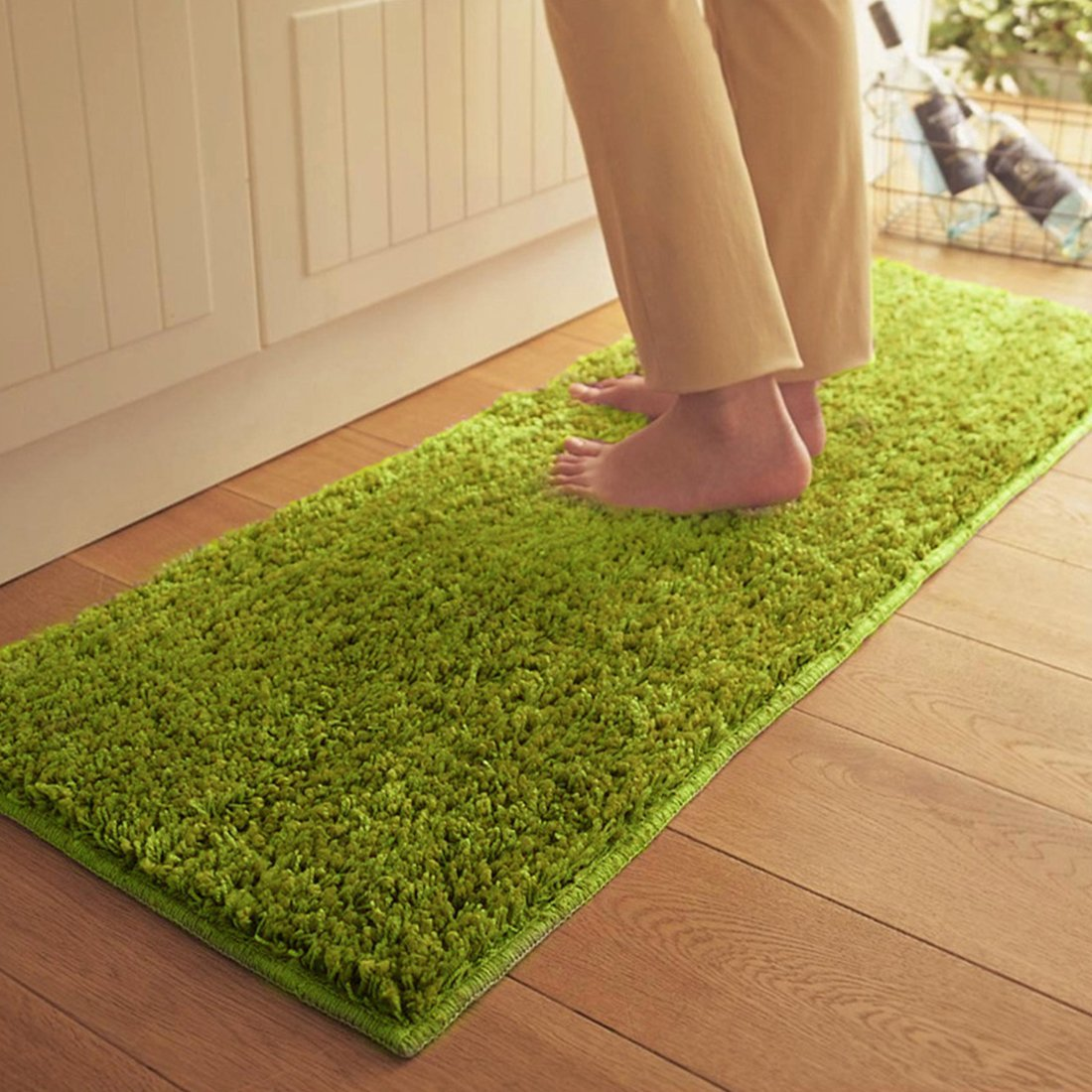 JTENGYAO Non-slip Chenille Fabric Shag Bedroom Kitchen Sofa Bathroom Mat-15.7 x 23.6 Inch
