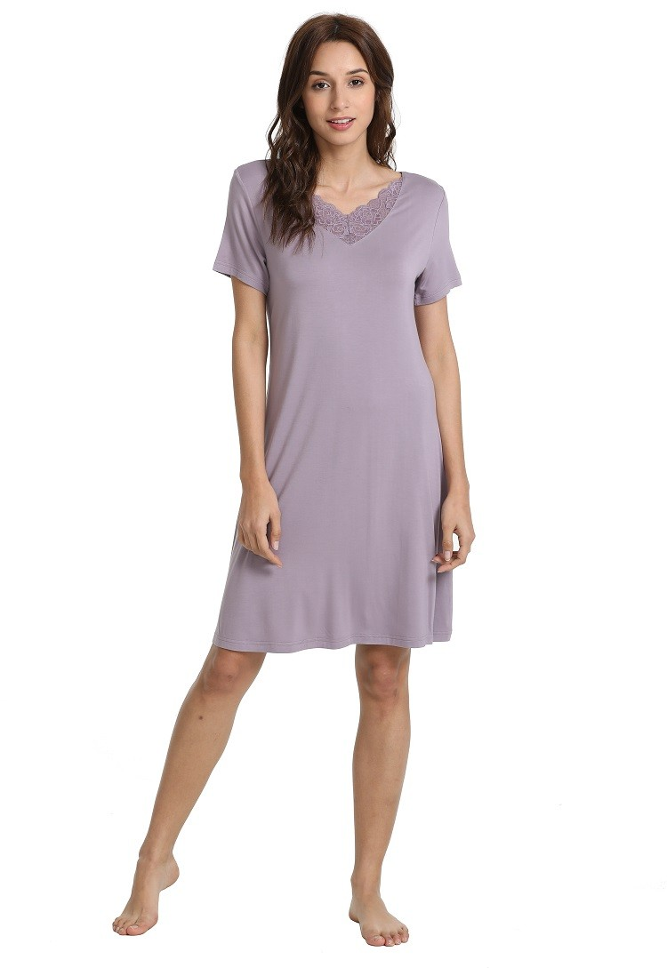 b81cc123 Womens Plain Short Sleeve Pullover Sleepwear Custom Nightshirts ...