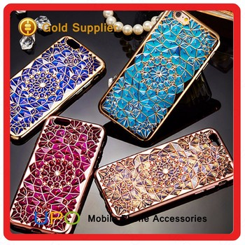 [UPO] New Arrival Luxury Diamond Rhinestone Electroplate Cell Phone TPU Case for iPhone 7 Back Cover