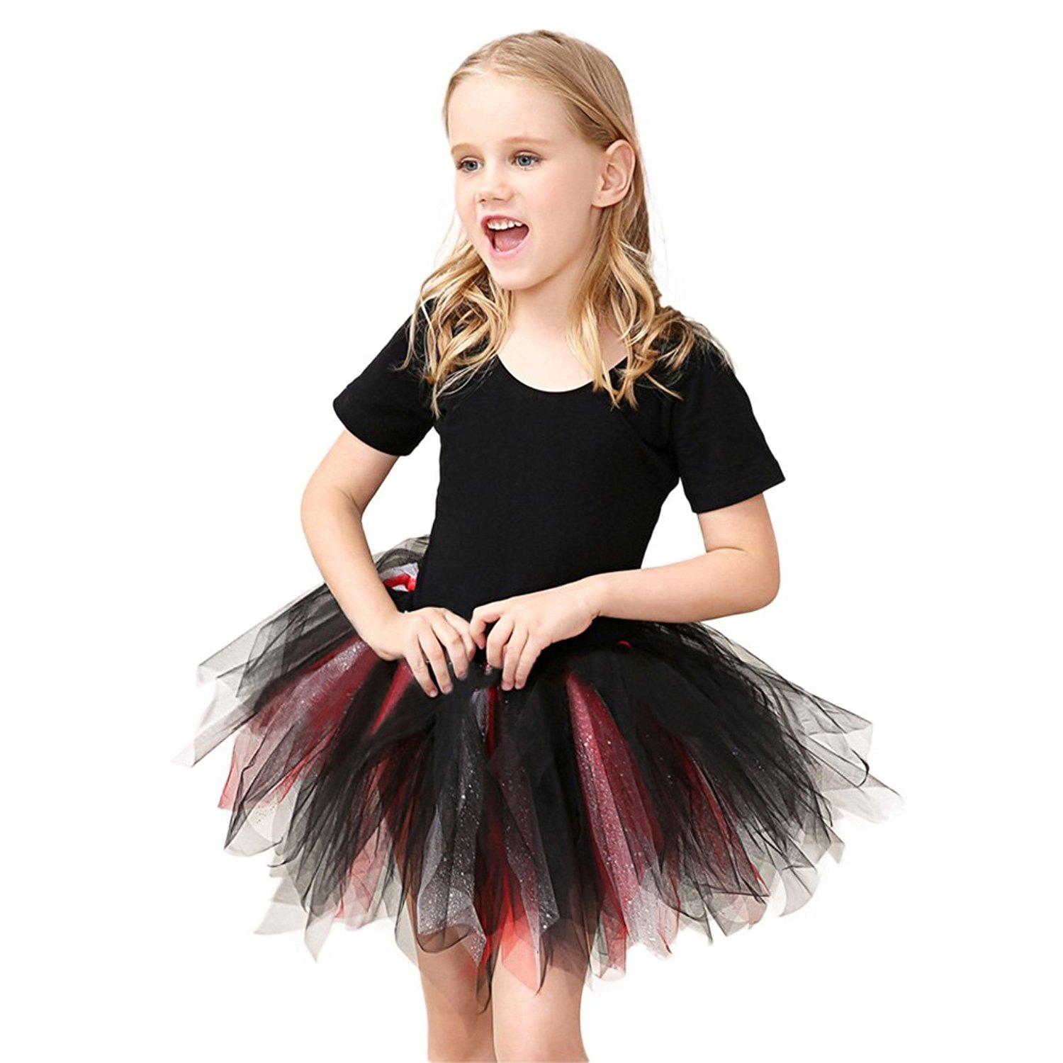 b16e7772a Get Quotations · YIBLBOX Little Girls Short Sleeve Tiered Ruffle Tulle Mesh  Tutu Ballet Dance Party Princess Dresses Skirted