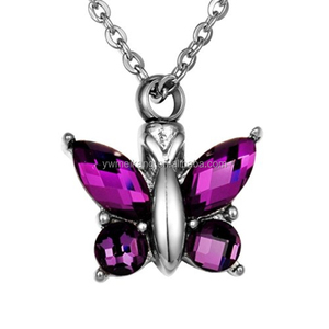 Made of stainless steel and created by artist jewelers Butterfly Cremation Jewelry