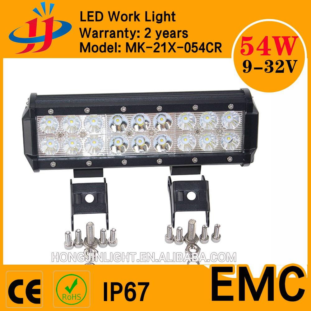 led High power worklight 54w IP67 18led offroad light bar with comopetitive price