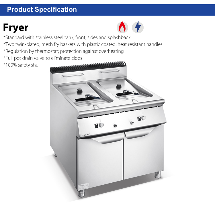 900 Series Gas Electric Industrial Deep Fryer Machine with 2-tank 2-basket