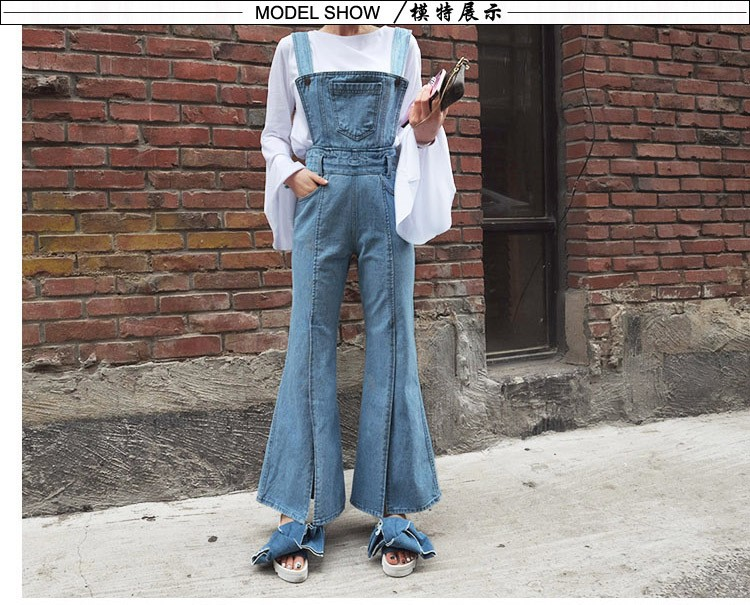 2016 Womens New Spring And Summer Loose Hole Plus Size Casual Bib Pants Hip-hop 7 Jean Jumpsuit Punctual Timing Women's Clothing Jeans