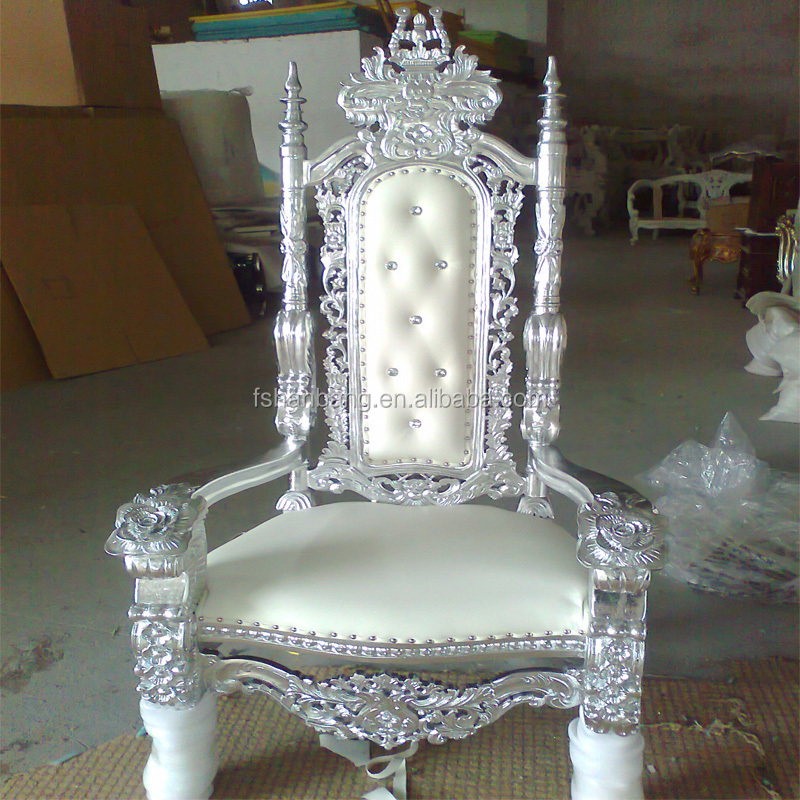 White Tiffany Golden Silver Antique Royal Carved King Queen Throne Wedding  Chairs For Bride And Groom