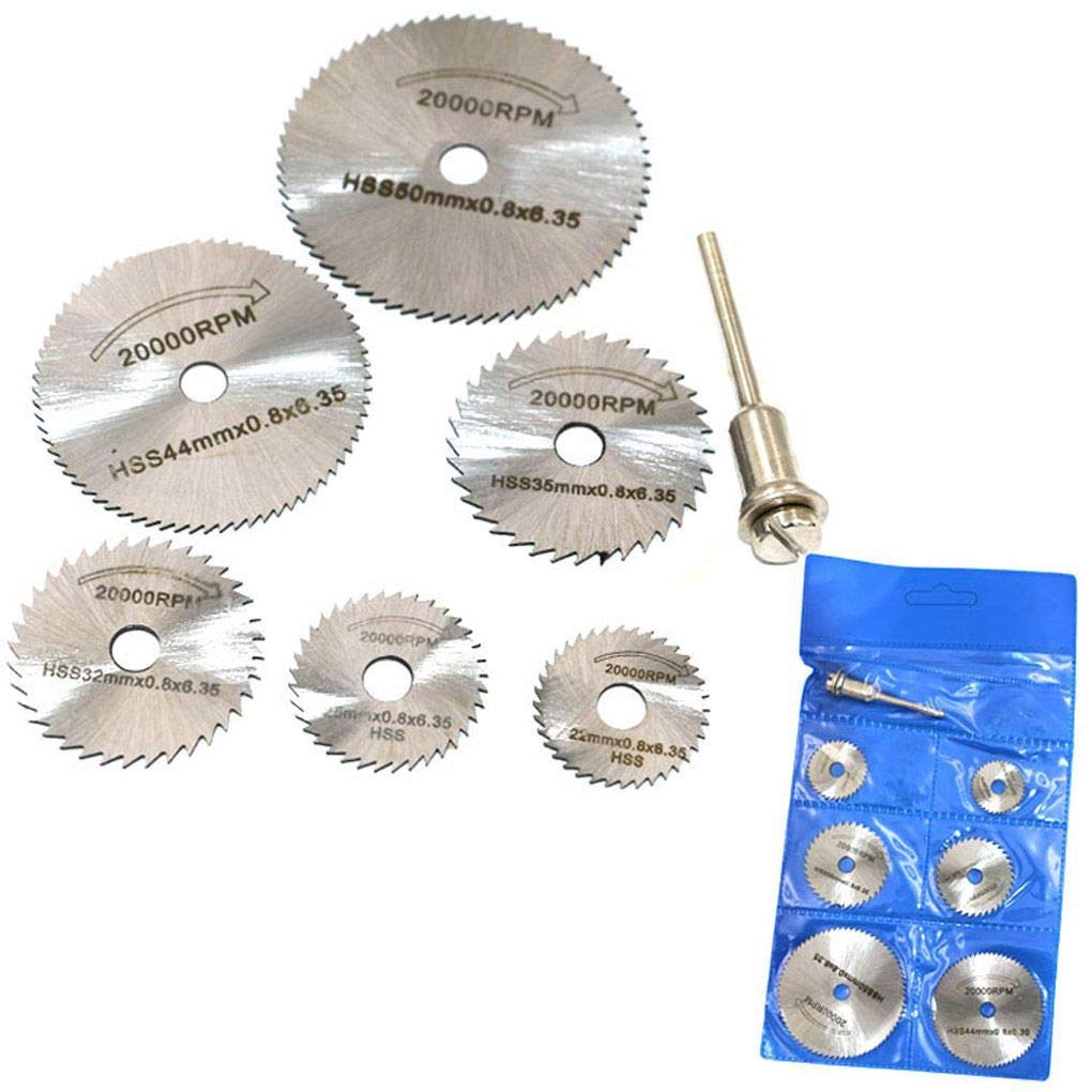 Yiruy 7Pcs High Speed Steel Saw Blade Electric Grinder Drill with 3.2Mm Rod