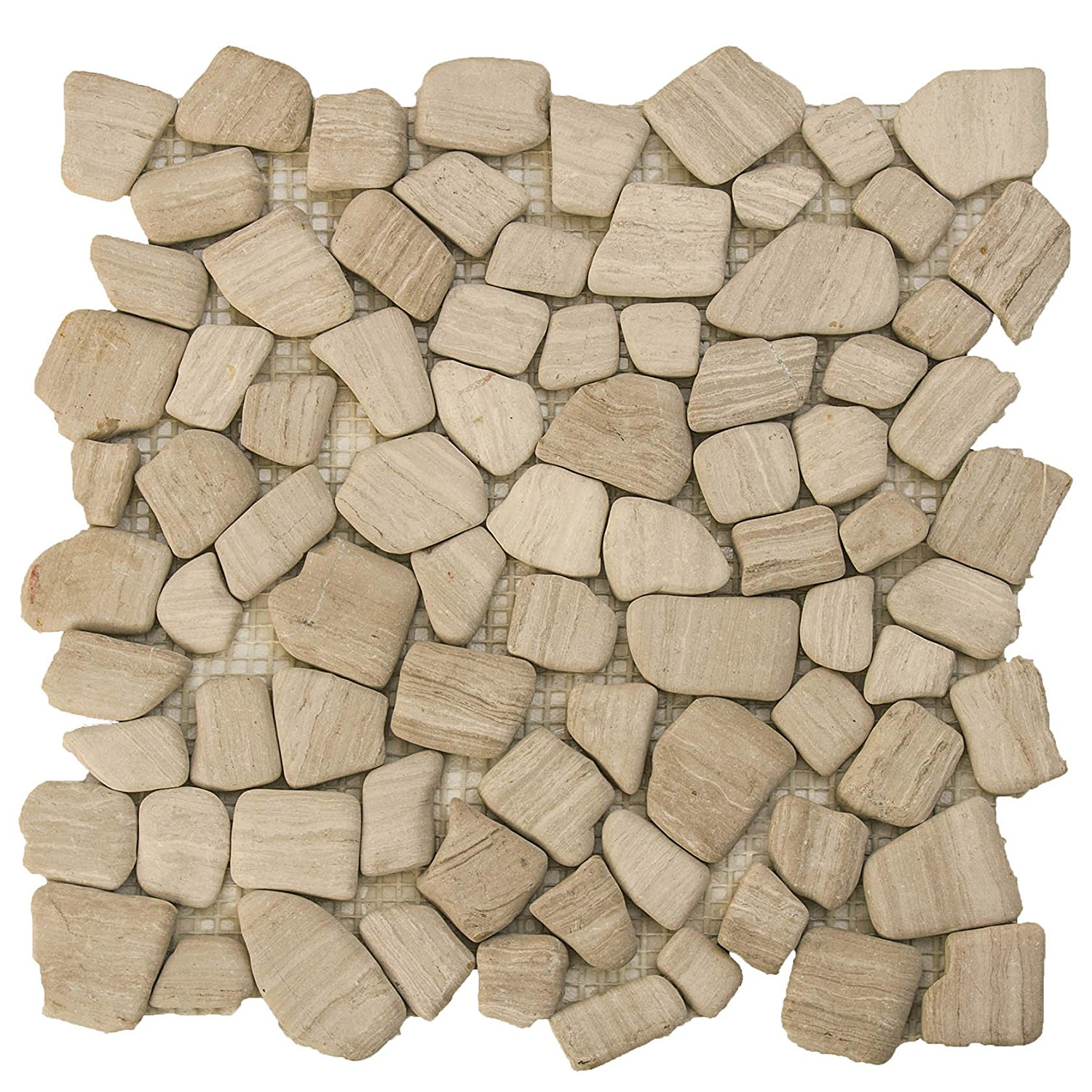 """Marble Mosaic Tile, """"River Rock Collection"""", MM 9502 - White Oak, Mixed Rounds, 12""""X12"""", Tumbled (Sample (6""""X4""""))"""