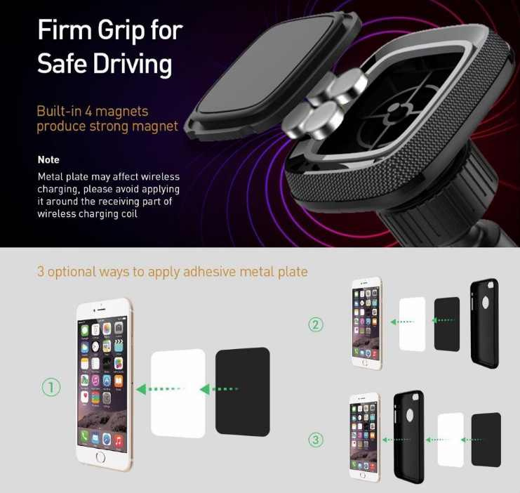 Universal Dashboard Smartphone Holder 360 Degree Rotating Cell Phone Car Mount