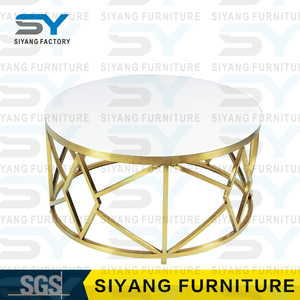 Foshan furniture stainless steel round table oval marble top coffee table centre table designs CJ002