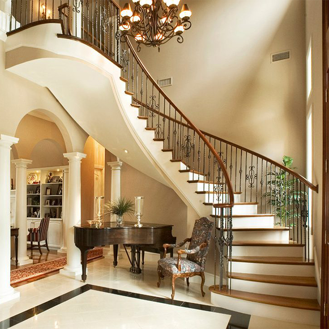 Single Stringer Floating Curved Wood Stairs Low Price