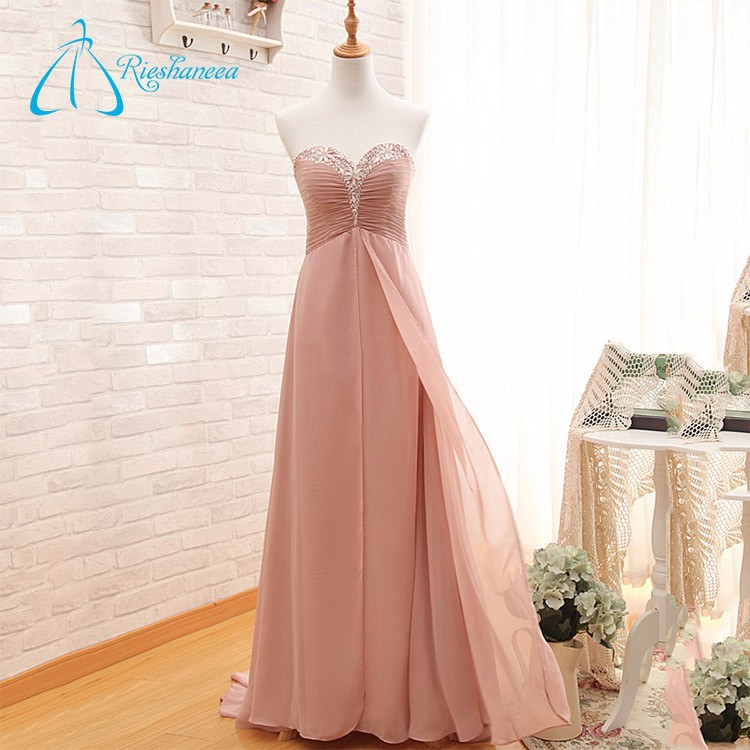 Chiffon Sweetheart Sweep Train Crystal Evening Party Dress