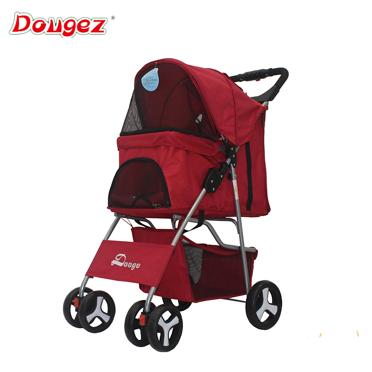 Factory New 4 wheel double pet trolleys Cat Dog Easy Walk Folding Travel Carrier Carriage Twin Pet Stroller