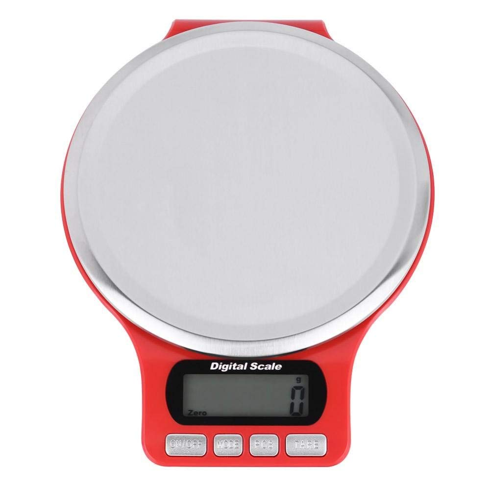 Digital Kitchen Scale Electronic Scale with LCD Display and Tray/ 5KG/1g, 3KG/0.1g / g, ct, oz, gn, ml, milk ml(5KG/1g-Red)