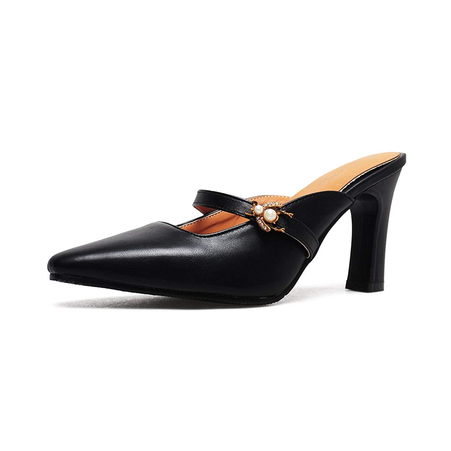 fafcb80270f Get Quotations · Btrada Women s Retro Slide Heeled Sandals Sexy Pointed Toe Mules  Slip On Crude Heel Dress Shoes
