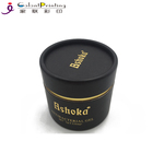 Custom Paper Round Tube Candle Boxes Rolled Edge Luxury Black Packaging Tube Box with Tin Cover