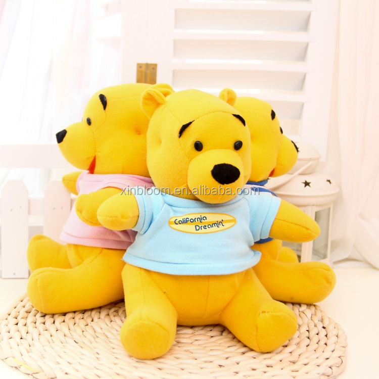 creative lovely cartoon children birthday gift 20 cm height yellow bear doll with clothes stuffed plush toy