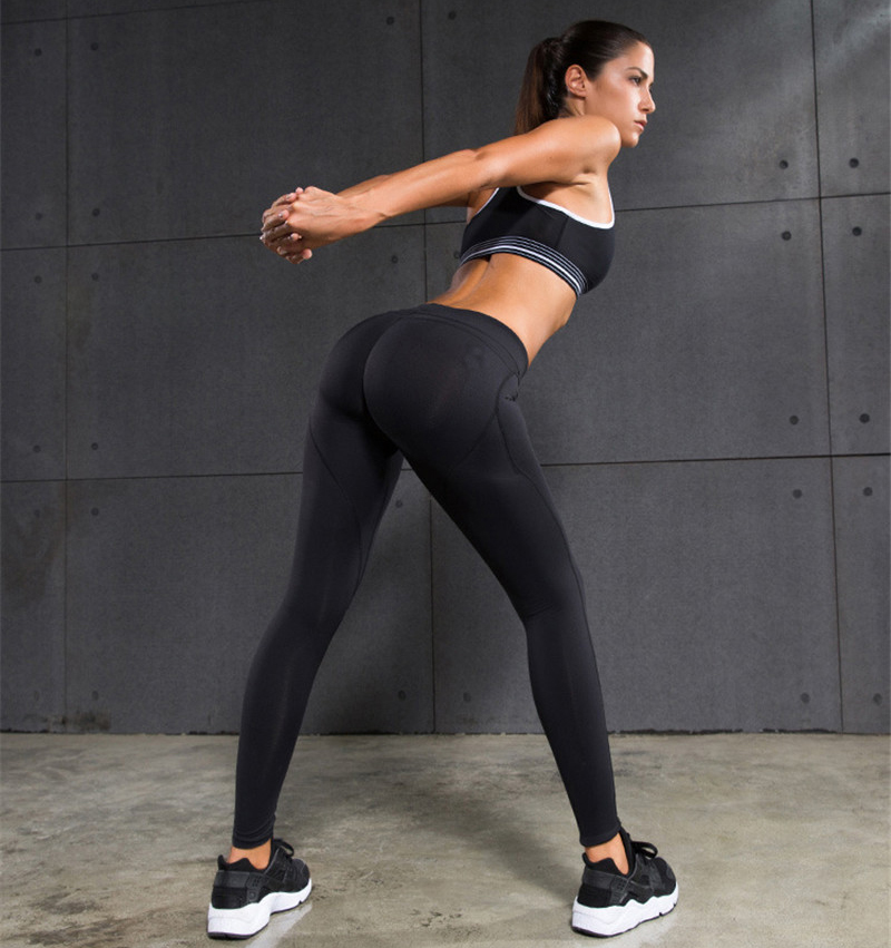 sexy black girl in yoga pants with pockets