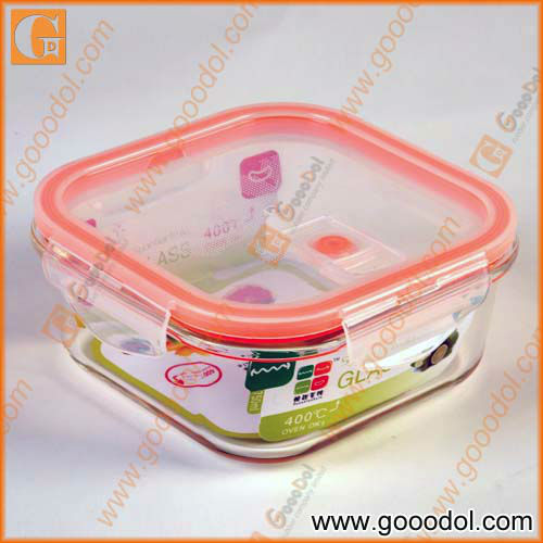 750ML glass container with PP lid heated lunch box