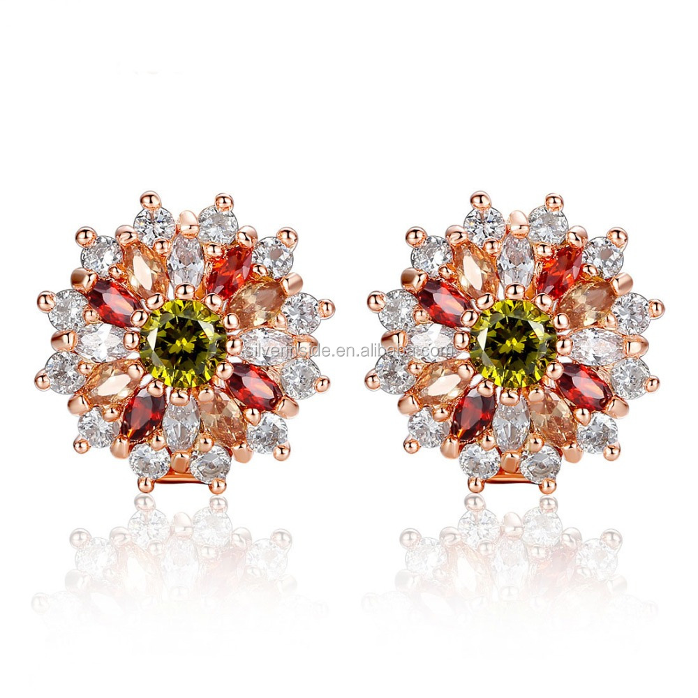 Gold Plated Cubic Zircon Earrings for Women Fashion Jewelry
