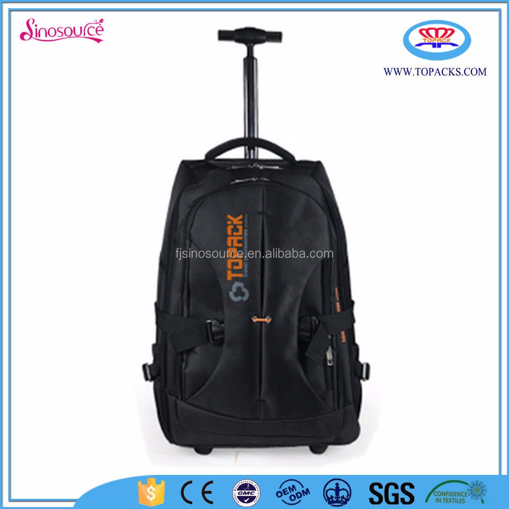 high quality character polyester black business luggage laptop trolley bag