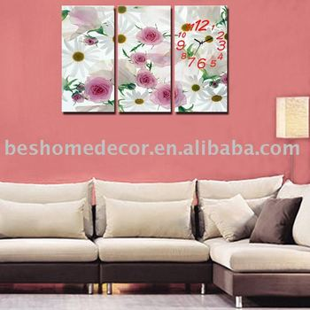 Decorative Triptych Modern Painting Canvas Wall Clock,Daisy Flower ...