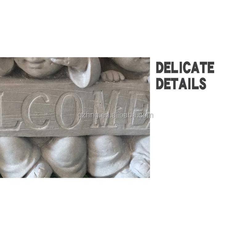 welcome sign garden decor GRC cement baby buddha